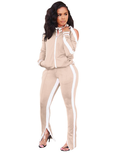 Khaki Two-piece casual fashion suit