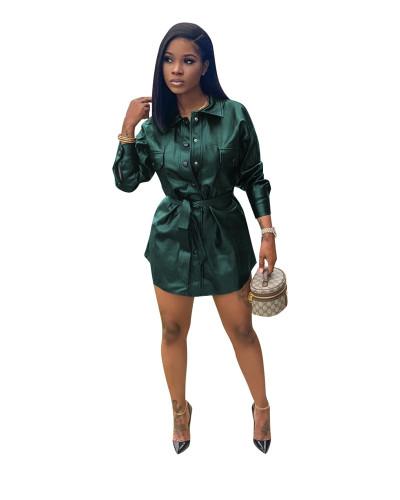 Green Stretch slim PU leather skirt