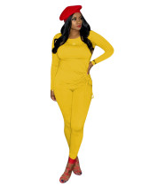 Yellow Long-sleeved home wild two-piece suit