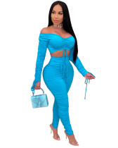Blue Classic solid color pleated women's two-piece suit