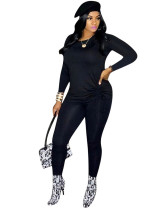 Black Long-sleeved home wild two-piece suit