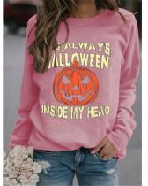 Pink Simple sweater Halloween pumpkin print top