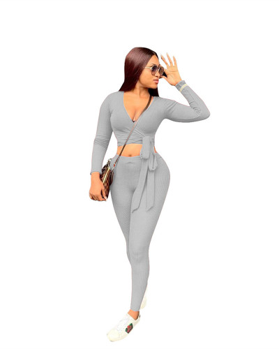 Gray Two-piece ribbed strap slim fit