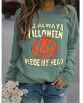 Light green Simple sweater Halloween pumpkin print top