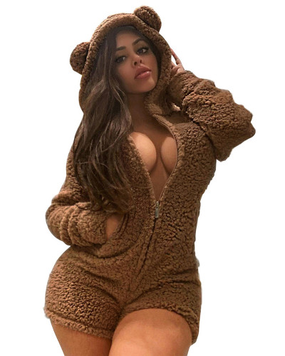 Brown Sexy ladies plus velvet padded hooded pajamas jumpsuit