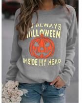Light gray Simple sweater Halloween pumpkin print top
