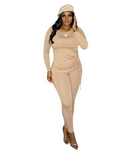 Khaki Long-sleeved home wild two-piece suit