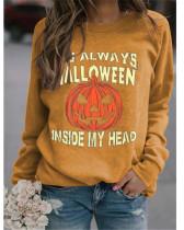 Yellow Simple sweater Halloween pumpkin print top