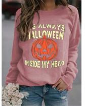 Rose red Simple sweater Halloween pumpkin print top