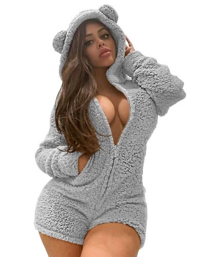 Gray Sexy ladies plus velvet padded hooded pajamas jumpsuit