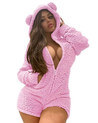 Pink Sexy ladies plus velvet padded hooded pajamas jumpsuit