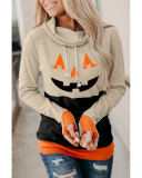 Long-sleeved sweater women's Halloween cartoon pattern contrast high-neck pullover ladies sweater