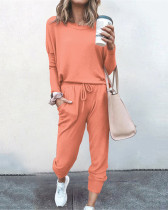 Red Loose solid color long sleeve casual suit