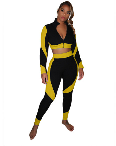 Yellow Color-blocking slim body pack hip pit strip sexy sports suit