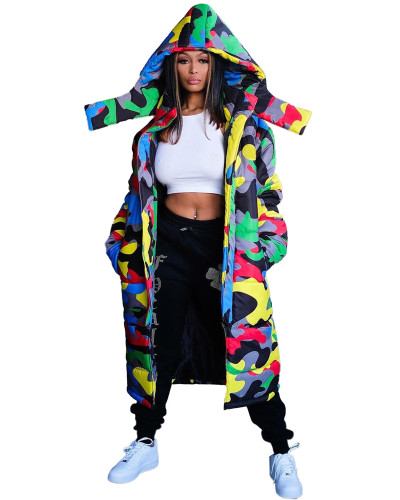 Printing and dyeing long bread jacket down jacket quilted jacket