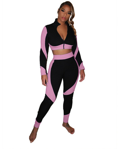 Pink Color-blocking slim body pack hip pit strip sexy sports suit