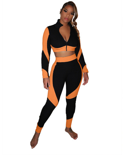 Orange Color-blocking slim body pack hip pit strip sexy sports suit