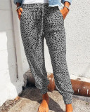 Gray Loose pants printed casual trousers