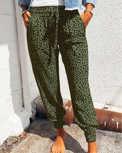 Green Loose pants printed casual trousers