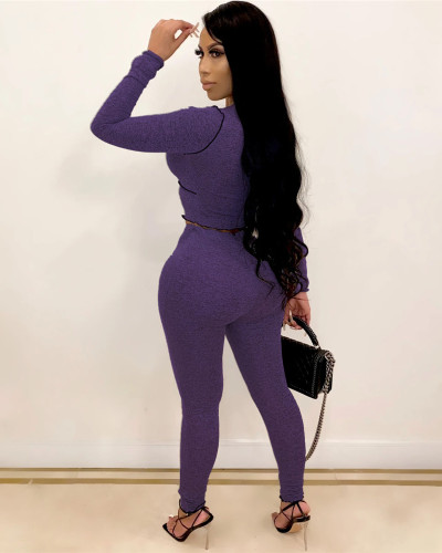 Purple Sexy strappy two-piece suit