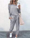 Light gray Loose solid color long sleeve casual suit
