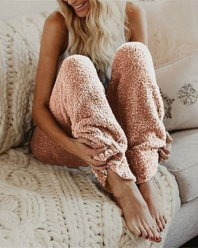 Pink Solid color loose plush women's pants long bottom