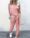Pink Loose solid color long sleeve casual suit