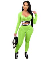 Green Line stitching slim sexy sports suit