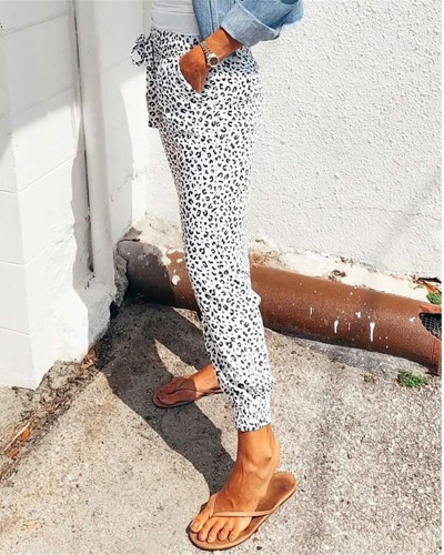 White Loose pants printed casual trousers