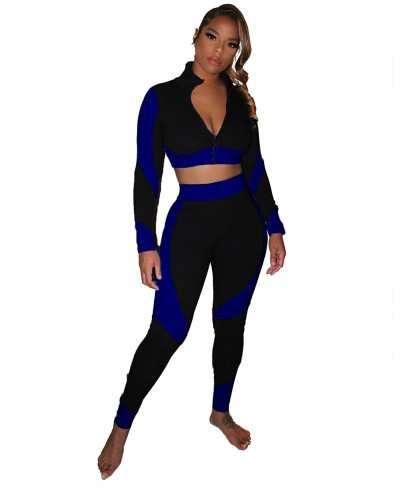 Dark Blue Color-blocking slim body pack hip pit strip sexy sports suit