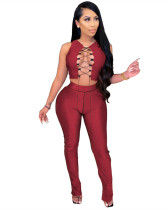 Red Sexy suit with straps and high waist micro horn slit