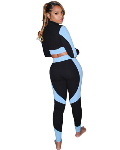 Light Blue Color-blocking slim body pack hip pit strip sexy sports suit