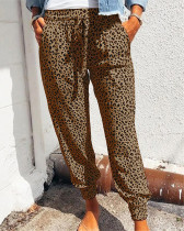 Brown Loose pants printed casual trousers