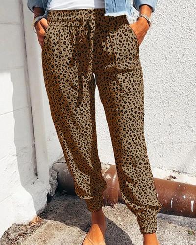 Brown Loose pants printed casual trousers