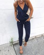 Dark bule Fashion casual lace-up pocket halter sling women's jumpsuit