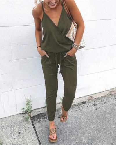 Army green Fashion casual lace-up pocket halter sling women's jumpsuit