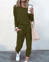 Army green Loose solid color long sleeve casual suit
