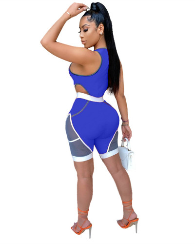 Blue Stitching skinny casual sports sexy jumpsuit