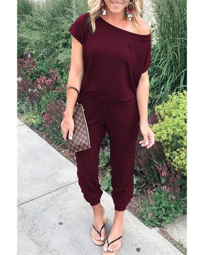 Claret Slant shoulder short sleeve pockets women's jumpsuit