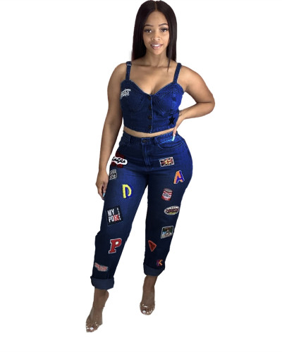Letter pattern embroidery sexy denim suit