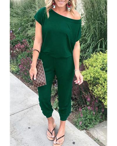 Dark green Slant shoulder short sleeve pockets women's jumpsuit