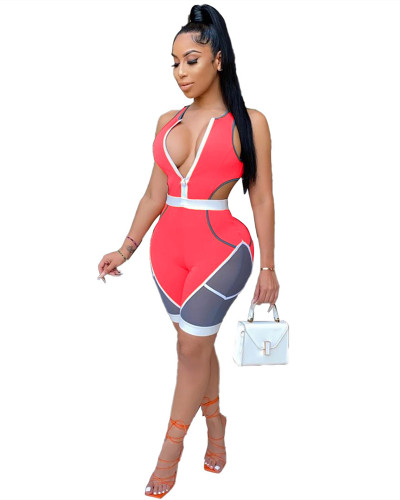Pink Stitching skinny casual sports sexy jumpsuit