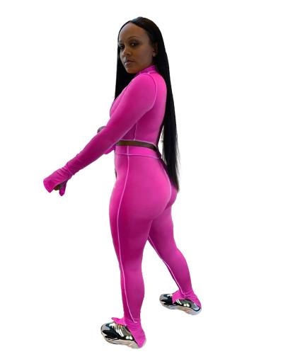Pink Pure color sexy split two-piece suit