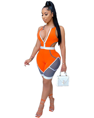 Orange Stitching skinny casual sports sexy jumpsuit