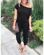 Black Slant shoulder short sleeve pockets women's jumpsuit