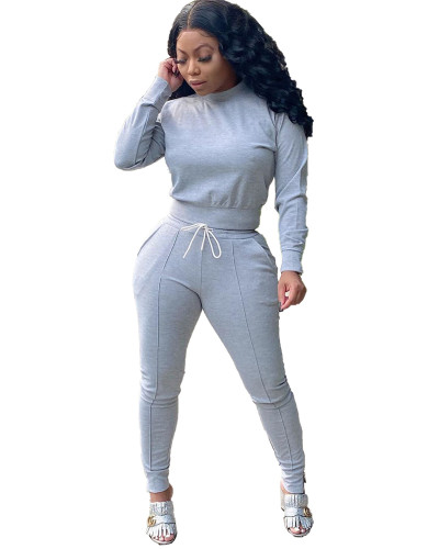 Gray Two-piece casual solid color ankle zipper set