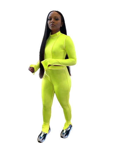 Green Pure color sexy split two-piece suit