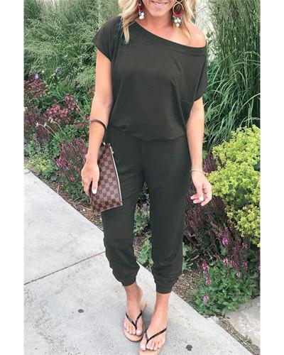 Gray Slant shoulder short sleeve pockets women's jumpsuit