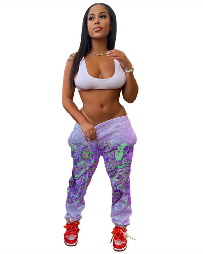 Purple Personalized positioning cashew flower print casual pants