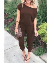 Coffee Slant shoulder short sleeve pockets women's jumpsuit